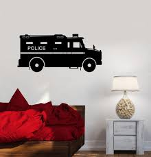Vinyl Wall Decal Police Car Children S Room Sheriff Garage Decor Stick Wallstickers4you