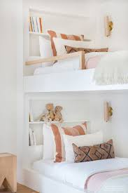 Light And Bright White Kids Custom Built Bunk Beds With Pops Of Peach Bedding Bedroom Design Bedroom Decor Girl Room