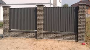 Brick And Corrugated Fence 36 Photos Universal Constructions With Brick Pillars From A Profiled Sheet Fencing With Corrugated Flooring