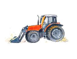 Amazon Com Orange Farm Tractor Print Tractor Wall Art For Kids Room Farmhouse Decor Tractor Painting Tractor Art Handmade