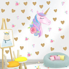 2019 Beautiful 3d Unicorn Stickers Kids Room Wall Decor Baby Girl Bedroom Decor Sticker Wall Diy Children Adesivo De Parede W147 Wall Stickers Aliexpress