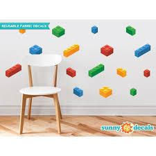 Zoomie Kids 16 Piece Building Block Bricks Fabric Wall Decal Set Wayfair