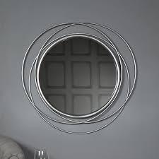 large round antique silver swirl mirror