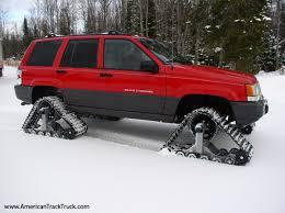 zj on homemade snow tracks jeep grand