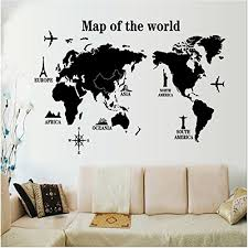 Wall Decals Stickers Kredy World Map 3d Home Kids Room Wall Decor Removable Diy Wall Decal Sticker Art Mural For Kids Boys Girls Bedroom Living Room Office Black Baby B075npkjqc