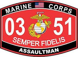 Amazon Com Assaultman Marine Corps Mos 0351 Usmc Us Marine Corps Military Window Car Bumper Sticker Vinyl Decal 3 8 Automotive