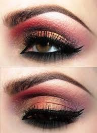 indian bridal inspired gold and red eye