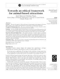 PDF) Towards an ethical framework for animal-based attractions