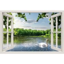 Window Frame Mural Swan On The River Huge Size Peel And Stick Fabr Royalwallskins