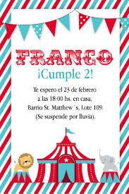 Kit Imprimible Circo Invitaciones Personalizadas Primer Ano