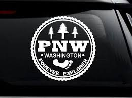 Pnw Washington Oregon Pacific Northwest Bigfoot Decal Sticker Etsy