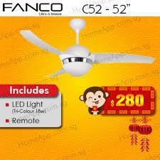 fanco c 52 ceiling fan with 3 colour
