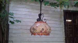 vintage ceramic wrought iron hanging