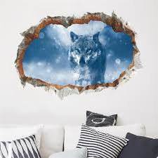 Home Garden Wolves In Snow Window View Decal Wall Sticker Home Decor Art Mural Animals Children S Bedroom 3d Decor Decals Stickers Vinyl Art