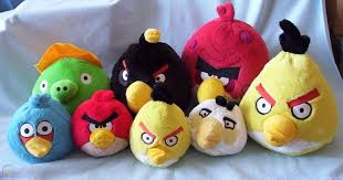 ANGRY BIRDS plush lot X8 Black Yellow Red Blue White Pig stuffed ...