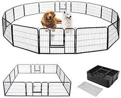 Amazon Com Vivohome Heavy Duty Foldable Metal Indoor Outdoor Exercise Pet Fence Barrier Playpen Kennel For Dogs Cats 24 Inch Height 16 Panels Pet Supplies