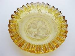 vintage amber glass ashtray etched rose