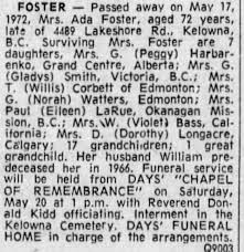 Obituary for Ada FOSTER (Aged 72) - Newspapers.com