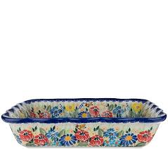 Lidia's Polish Pottery Hand-Painted Ada Baker - QVC.com
