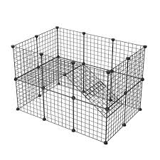 Kousi Customizable Small Pet Pen Bunny Cage Dogs Playpen Indoor Out Door Animal Fence Puppy Guinea Pigs Dwarf Rabbits Black 24 Panels