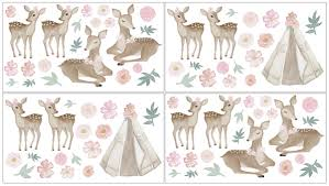 Deer Floral Collection Peel And Stick Wall Decal Stickers Set Of 4 Sheets