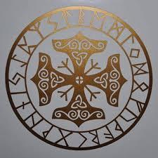 Asatru Rune Algiz Thor Mjolnir Talisman Viking Hammer Copper Vinyl Decal Sticker