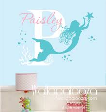 Mermaid Wall Decal Custom Made Mermaid Wall Decal Girl Name Decal Mermaid Wall Art Mermaid Wall Decals Nursery Wall Decals Mermaid Wall Art