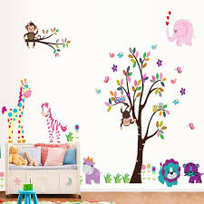 Monkey On Colorful Tree Branch Wall Art Mural Decal Decor Monkey Owls Giraffe Elephant Birds Butterfly Natural View Forest Paradise Wall Art Stickers Wall Decor Stickers Wall Decoration From Magicforwall 3 97 Dhgate Com