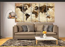 Amazon Com Sepia Wall Art Push Pin World Map Canvas Print Framed Extra Large Wall Art For Living Room World Travel Map Wall Decal Sepia World Map Multi Panel 5 Pieces Hr120 Handmade