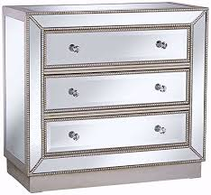 3 drawer mirrored finish chest only