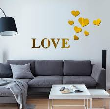 3d Mirror Love Hearts Wall Sticker Decal Diy Wall Stickers For Living Room Modern Style Home Room Art Mural Decor Aliexpress Com Imall Com