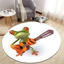 Round Floor Mat Kids Bedroom Carpet Living Room Area Rugs Cute Frog Guitar Model Ebay