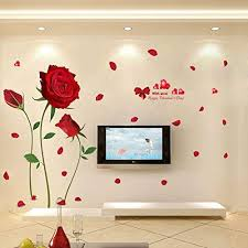 Amazon Com Wda Romantic Red Rose Flowers Wall Decals Living Room Bedroom Removable Pvc Wall Stickers Murals Home Kitchen