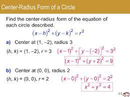2 2 circles center radius form