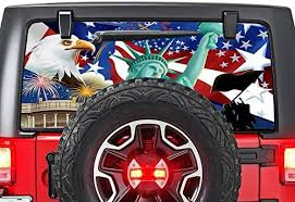 Amazon Com Gold Fish Decals Rear Window Perforated See Thru Graphic Decal Sticker Usa Flag 3 Compatible With Jeep Wrangler Jk Rubicon Automotive