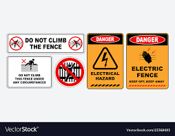 Electric Fence Warning Vector Images 27