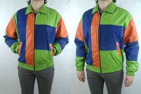 leather men s jacket green blue orange