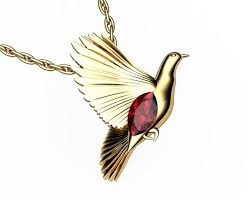 bird pendant solid gold dove pendant
