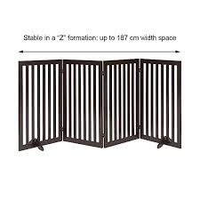 Unipaws Freestanding Dog Gate Foldable Pet Fence Indoor Wood Barrier Assembly Free Large Stair Gate With Support Feet Allforyourdog