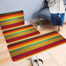 multicolor striped print carpets for