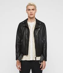 mens rigg leather biker jacket black