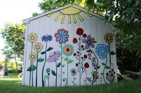 Mural Shed Mural Flower Painting Flower Mural Garden Fence Art Fence Art