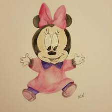 baby minnie mouse disney watercolour