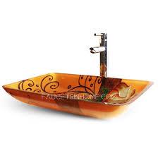 orange rectangle glass vessel sinks
