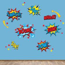 Superhero Wall Decals Superhero Sayings Decal Pow Zap Boom Wall Decals Reusable Decals Products In 2019 Wall Decals Superhero Room Superhero