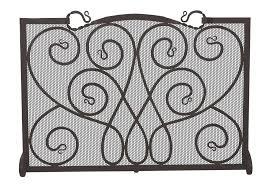 single panel black ornate fireplace screen