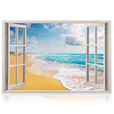 Realistic Window Wall Decal Peel And Stick Nautical Decor For Living Room Bedroom Office Playroom Beach Wall Murals Removable Window Frame Style Ocean Wall Art Vinyl Poster Wall Stickers Wantitall