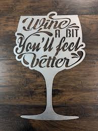 Wine A Bit You Ll Feel Better Metal Wall Art Sign Zug Monster