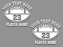 Amazon Com Custom Personalized Football Vinyl Decals 6 Wide Set Of 2 Car Truck Window Sticker Sports Team Automotive