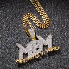 Hip Hop Unisex Bubble MBM Letters Pendant Necklace Cubic Zirconia ...